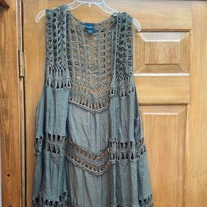 Olive Green Crochet Vest
